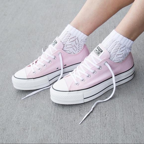 Converse Baby Pink Platform Sneakers